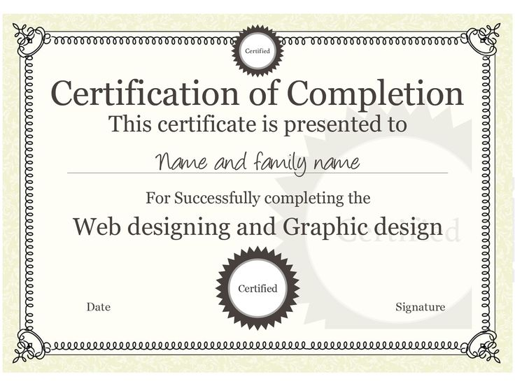 20 best Certificate Templates images on Pinterest Certificate - certificate of completion template word