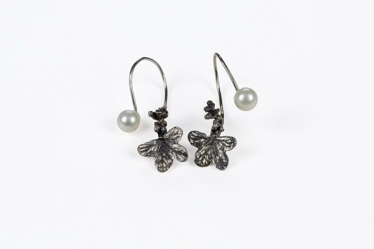 Sterling Floral earrings w/ Pearl `Backs`