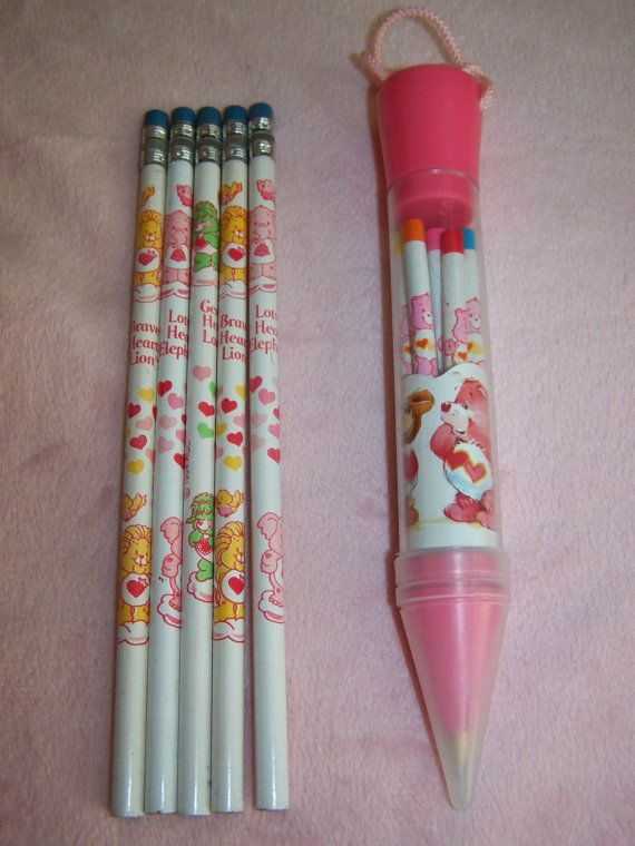 Vintage 1980's Carebears Cousins Childs Pencil Pen by Shabbysweets, $5.50