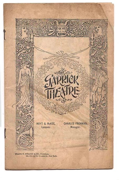 This is a fantastic, rare piece of Edwardian Era stage memorabilia : Antique 1902 Program from the Garrick Theatre in NYC with a Lily Langtry Ad.  For sale  by Brothertown.
