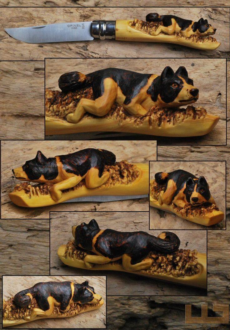 Gerdil Лоран - Скульптура - Животные Opinel № 10 самшит ручка pyrographed вырезал медвежья собака Карельский Режиссер фотографий Размер: 15 см открытым