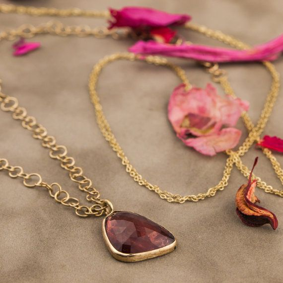 Natural 9CT Pink Tourmaline Pendant and Necklace in 14K Yellow Gold, Pink Tourmaline Necklace, Yellow Gold Pendant and Necklace, Handmade