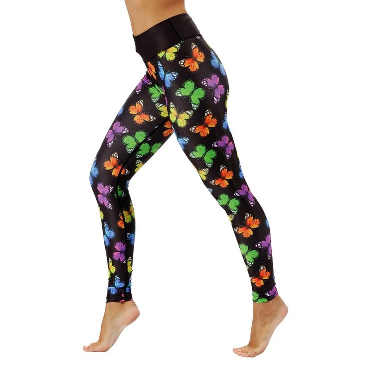 Tikiboo rainbow butterfly collection. These butterfly print full-length leggings are striking in design, with black material providing the backdrop to intricately detailed butterflies in the colours of the rainbow – truly beautiful.  Perfect for yoga, Pilates, HIIT, cardio and more, the thick waistband keeps you supported throughout; with their breathable and squat-proof material. #Activewear #Gymwear #FitnessLeggings #Leggings #Tikiboo #Running #Yoga