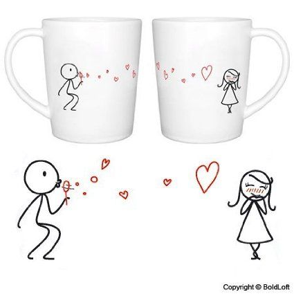 """BoldLoft """"From My Heart to Yours"""" Couple Coffee Mugs-Romantic Valentine's Day Gifts for Couples,Cute Valentines Gifts for Him or Her,Romanti..."""