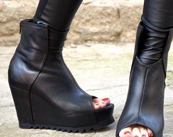 """VERKOOP nieuwe collectie zwart echt leder wiggen / Sexy extravagante """"Must Have"""" All seasons schoenen door Aakasha A15195"""