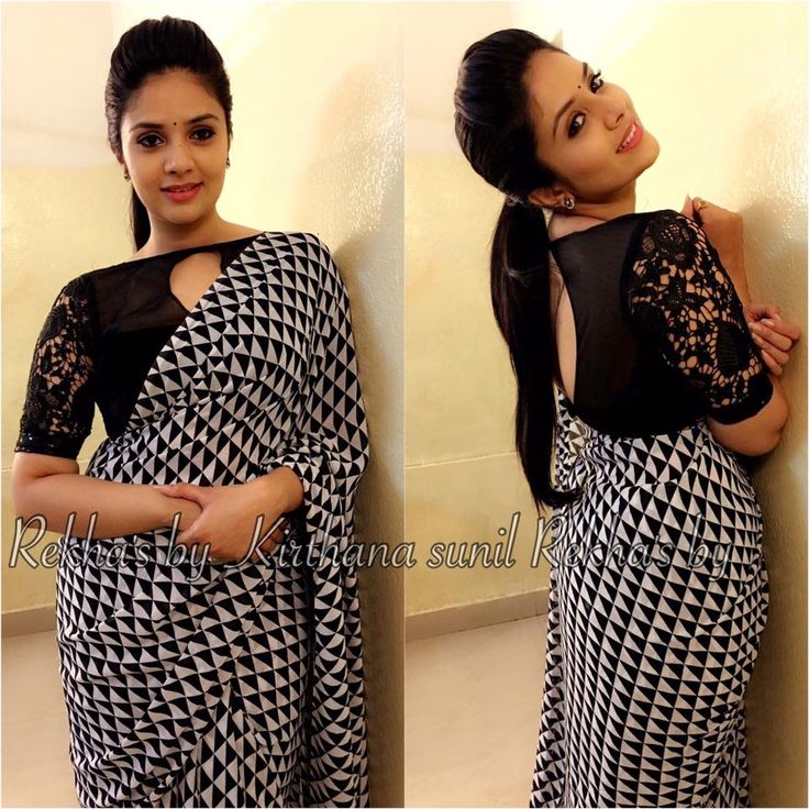 Sreemukhi in Rekhas rekha s by kirthanasunil designs for yesterday night s pataas black white saree sreemukhi picoftheday traditional designerwear 27 February 2017