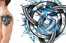Family Trinity Knot Celtic Marlin Fish Water Slash Tattoo Design. Design #989308 by AndrijaDesign