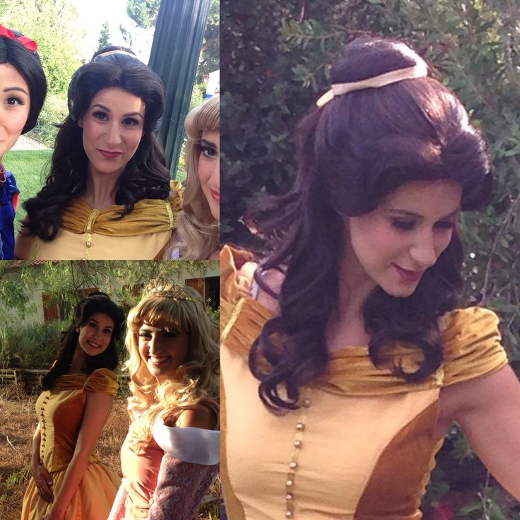 This is how our Belle wig looks on! #princesswig #wigs #professionalwigs #theatrewigs #princess #princessdressup