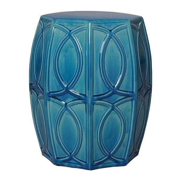 Treillage Garden Stool in Deep Turquoise design by Emissary