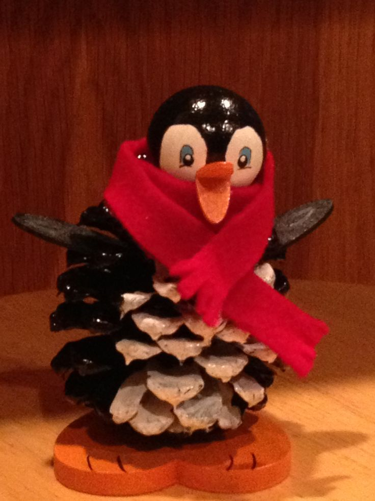 Pine cone penguin craft