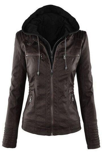 Préparez-vous à rencontrer les dernières nouveautés essentielles de votre garde-robe. Cette veste zippée d'hiver est faite de tissu aspect cuir qui reste à la recherche intelligente toute la journée et la nuit. Design à capuchon et poches latérales qui le rendent plus pratique.