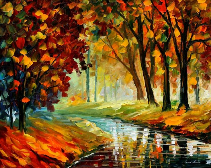 Little Stream Palette Knife Oil Painting On Canvas By