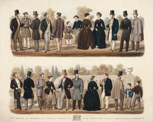 PAPPRILL, H. Gentlemen's Fashion plate: Spring & Summer.  Original aquatint etching with fine hand-colour published for The Reports of Fashion by Edward Minister and Son; Tailors and Habit Makers to Her Majesty, No. 8, Argyll Place, Regent Street, London. 1859. 660 x 830 mm.  #fashion #victorian #vintage #antique