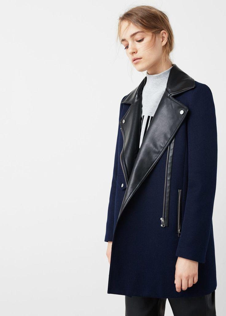 Contrast lapels coat | MANGO