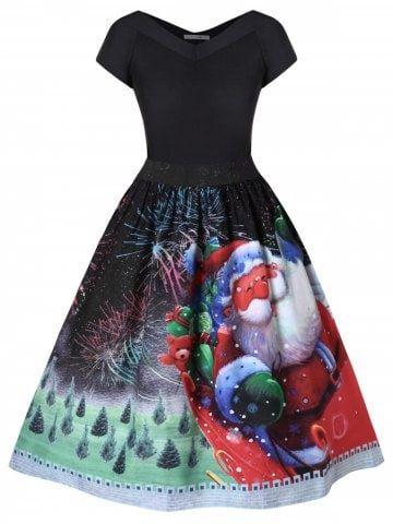 f8761872ec3 Plus Size Christmas Santa Claus Flare Dress - BLACK - 2X