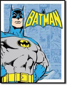 """Vintage Batman Tin Signfor the DC Comics lover in your home, otherwise known as the caped crusader Batman and Robin fight crime in Gotham City. Measures- 16""""""""H X 12-1/2""""""""W Has holes in corners for e"""