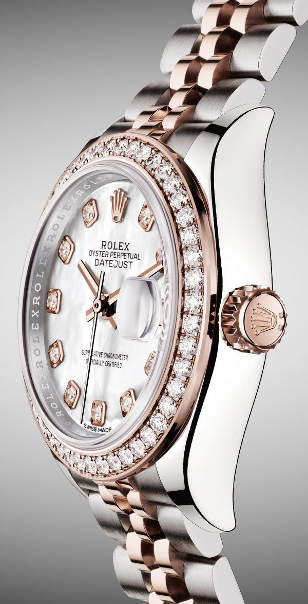 The Rolex Lady-Datejust 28 Rolesor, combining 904L steel and 18ct Everose gold, with a diamond-set bezel, a white mother-of-pearl dial and a distinctive Jubilee bracelet.