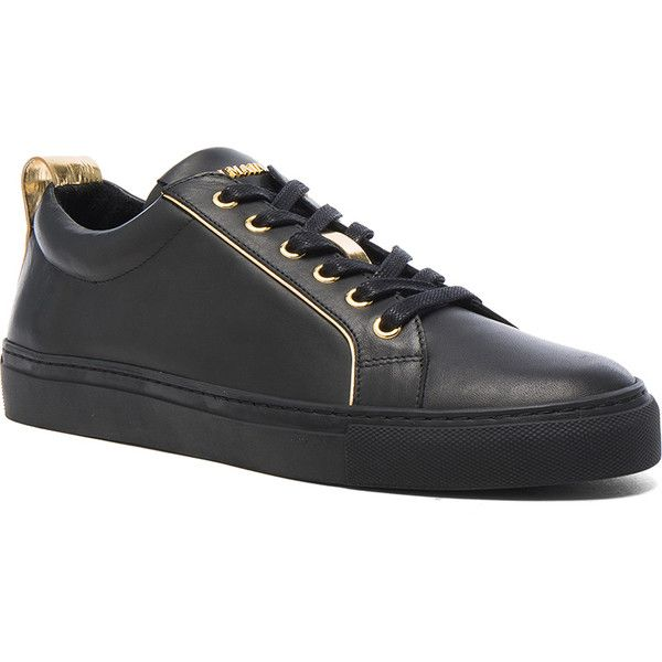 BALMAIN Gold Piping Leather Sneakers ($690) ❤ liked on Polyvore featuring men's fashion, men's shoes, men's sneakers, sneakers, balmain mens sneakers, mens metallic shoes, mens gold shoes, mens leather sneakers and mens metallic gold sneakers