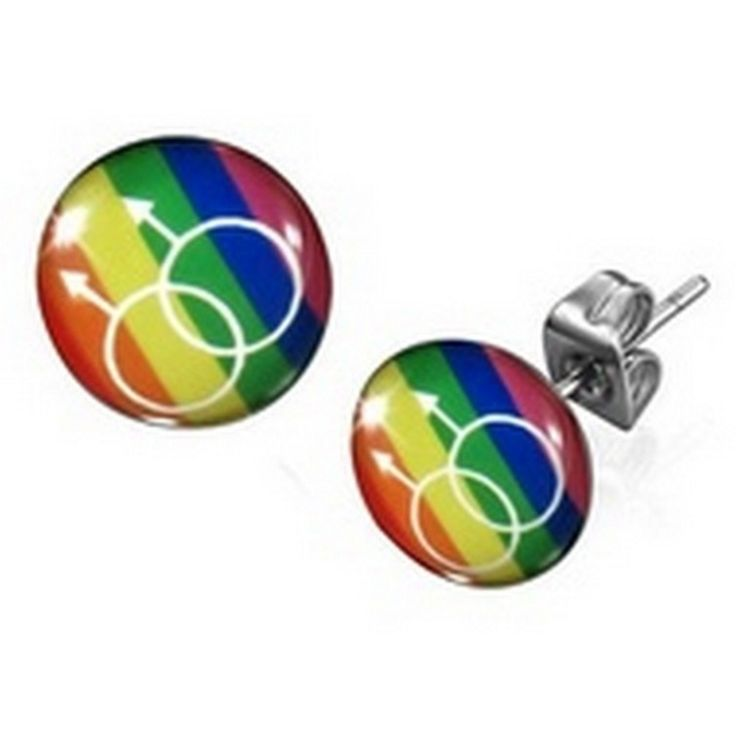 Stainless Steel Male Gender Symbol Rainbow Circle Stud Earrings - Timeless Treasures - Free gift bag with purchase