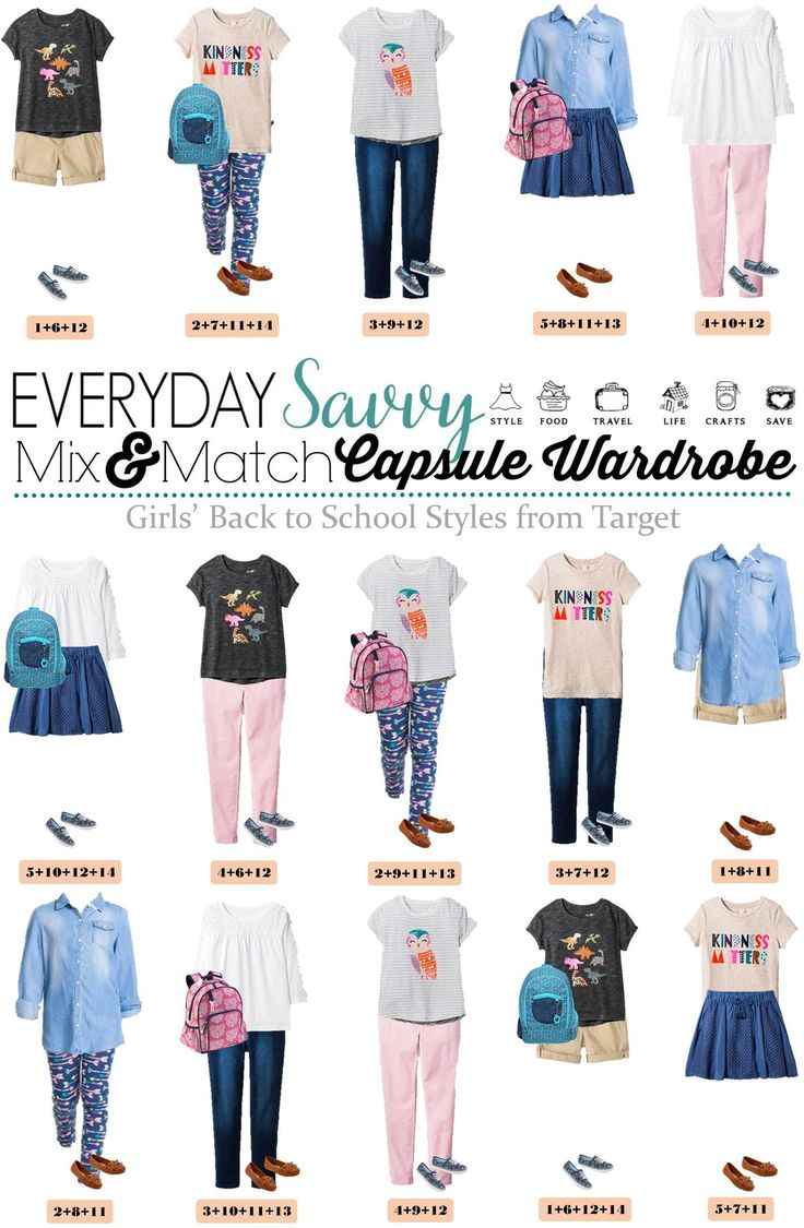 Fun fall back to school capsule wardrobe for girls with items from Target. When you buy these 14 pieces you have 15 mix and match back to school outfits.