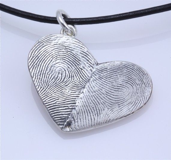 Sterling Silver Custom Double Thumbprints Pendant or Charm --- any two persons' thumbprints!! Sooo cute!! I love this idea for engaged/married couples.
