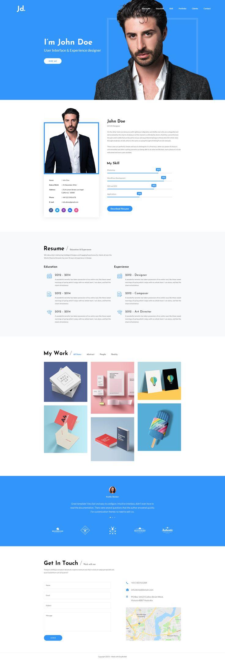 Free Resume Web Design PSD Template in 2020 Web design