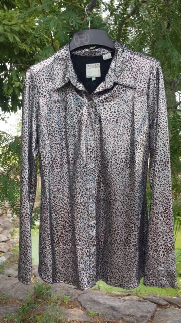 Roper Ladies Medium Western show shirt in shiny metallic silver | eBay