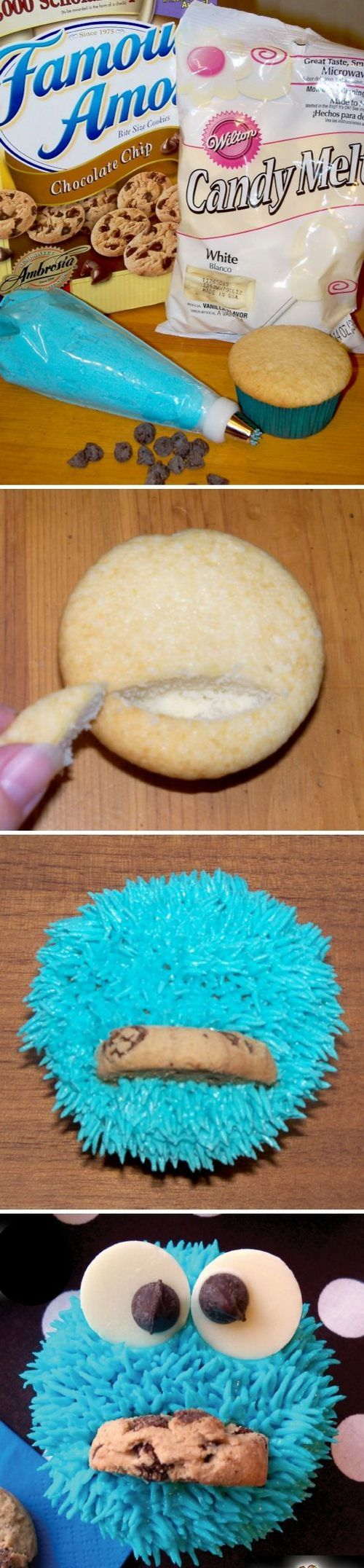 Cookie Monster Cupcakes - such a cute idea! Now if only I could get my kids liking Sesame Street ;-)