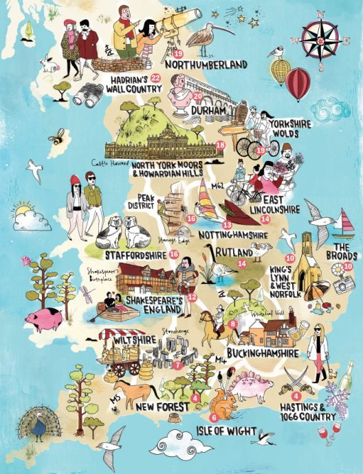 a lovely illustrated map of england showing the top. Black Bedroom Furniture Sets. Home Design Ideas