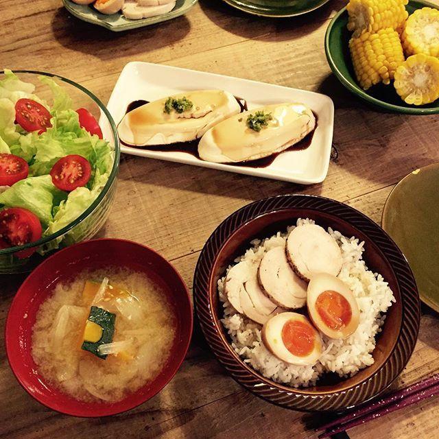 WEBSTA @ keiko_m.m - #晩ごはん#dinner#保存食#鳥ハム と #煮卵 で…