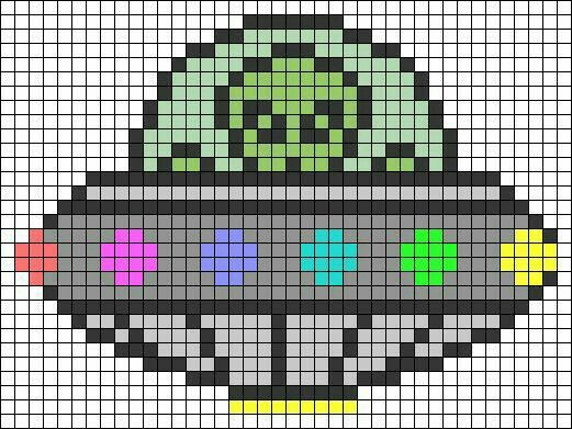 Outer space alien cross stitch.
