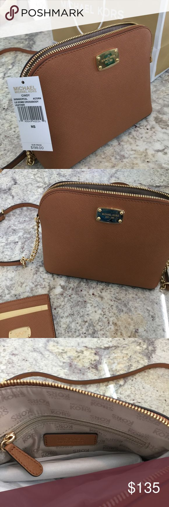 Michael Kors Crossbody Style Cindy. Dome Crossbody in crosshatch tan leather with gold hardware. Color: Acorn Michael Kors Bags Crossbody Bags