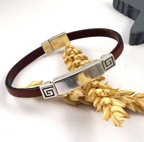 kit tutoriel bracelet cuir homme marron avec Perles et fermoir plaqué argent : Kits, tutoriels bijoux par bijoux-giuliana