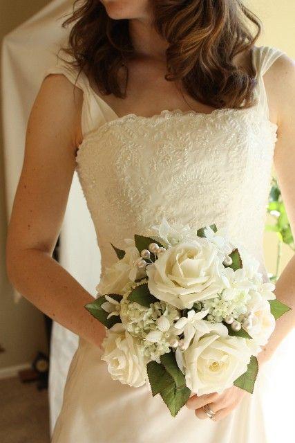 White Wedding Bouquet Roses Pearls Stephanotis by Lilywinkel