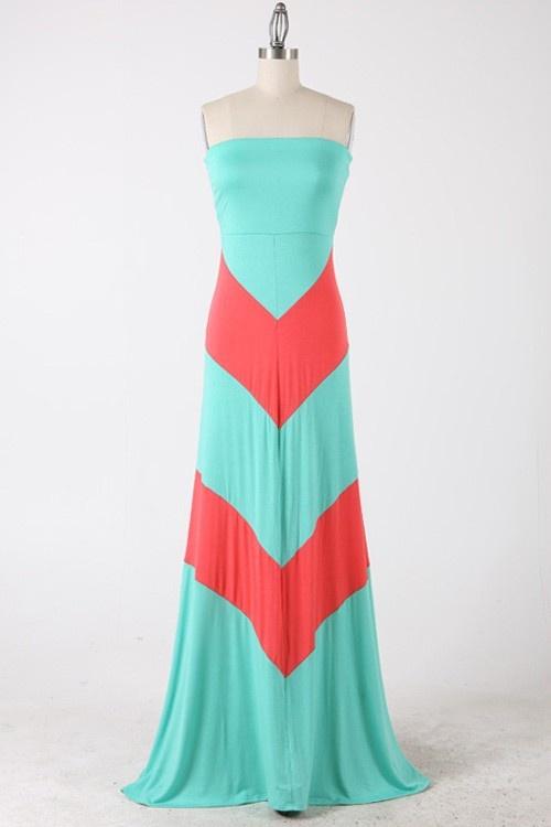 Mint & Coral Chevron Colorblock Maxi Dress $32.99 NanaMacs Fashion Boutique - http://www.nanamacs.com/mint-coral-colorblock-chevron-maxi-dress/