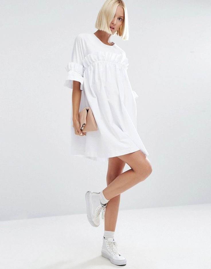 Image 4 of ASOS WHITE Frill Dress With Contrast Fabric
