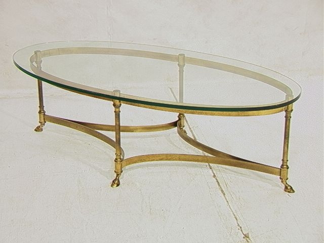 Coffee Table, Brass And Glass Coffee Table Oval Glass Table Top Replacement: Collection Of Oval Coffee Tables