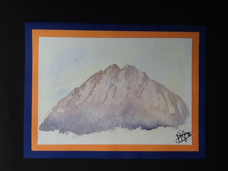 Signed original watercolour painting by H. JOSÉ, Distant Lonely Rocky Mountains