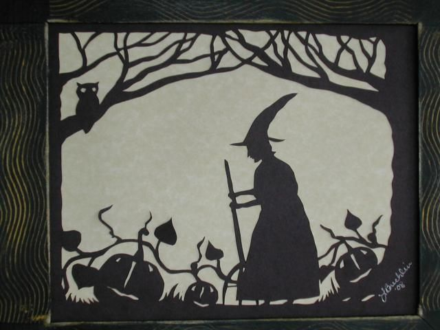 """Notforgotten Farm ~ always loved this scherenschnitte Lori made & the other """"witchy ones"""" with her Crow familiar...sooo cool !"""