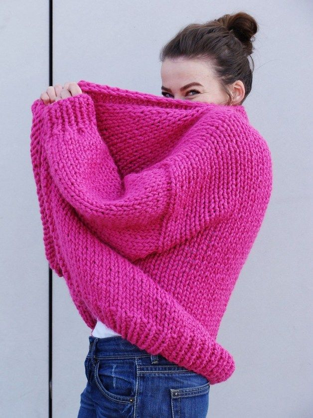 Knitwear and wool at DaWanda Cardigans – Pure Chunky Cardigan - Hot Pink – a unique product by Nudakillers on DaWanda