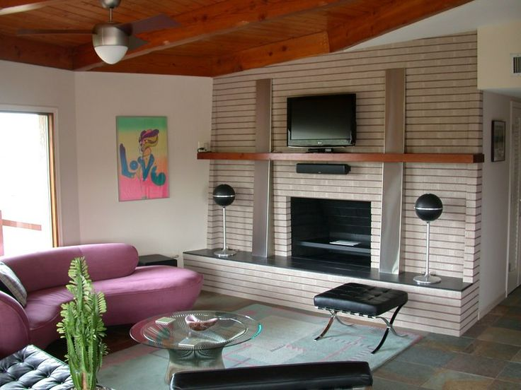 Update brick fireplace and Midcentury modern fireplace