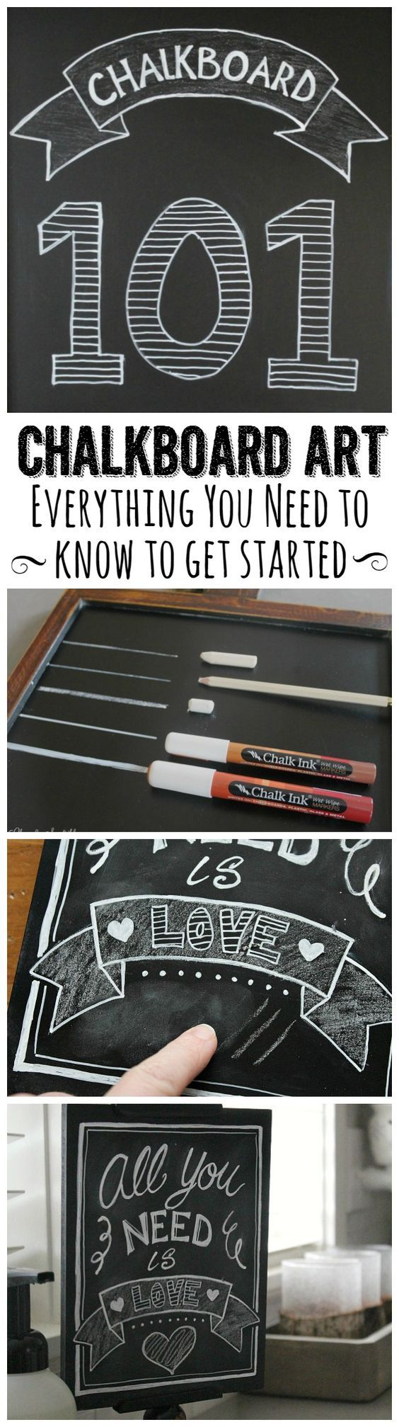 Great tips for creating your own chalkboard art!  Everything you need including how to get rid of ghosting, what tools to use, and ideas to get started!