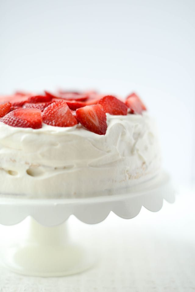 This traditional cake from Norway is made totally from scratch and makes strawberries shine. Best part,  it develops its flavor more in the fridge, so you can make it ahead of time Bløtkake
