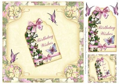 8x8 Birthday Wishes Flowers & Butterflies - CUP273031_1443 | Craftsuprint