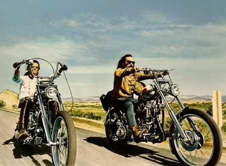 Easy Rider, Starring: Jack Nicholson, Peter Fonda and Dennis Hopper.