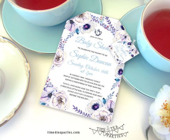 Lilac floral Tea Bag Tea Party Invitation  by Time4TeaParties