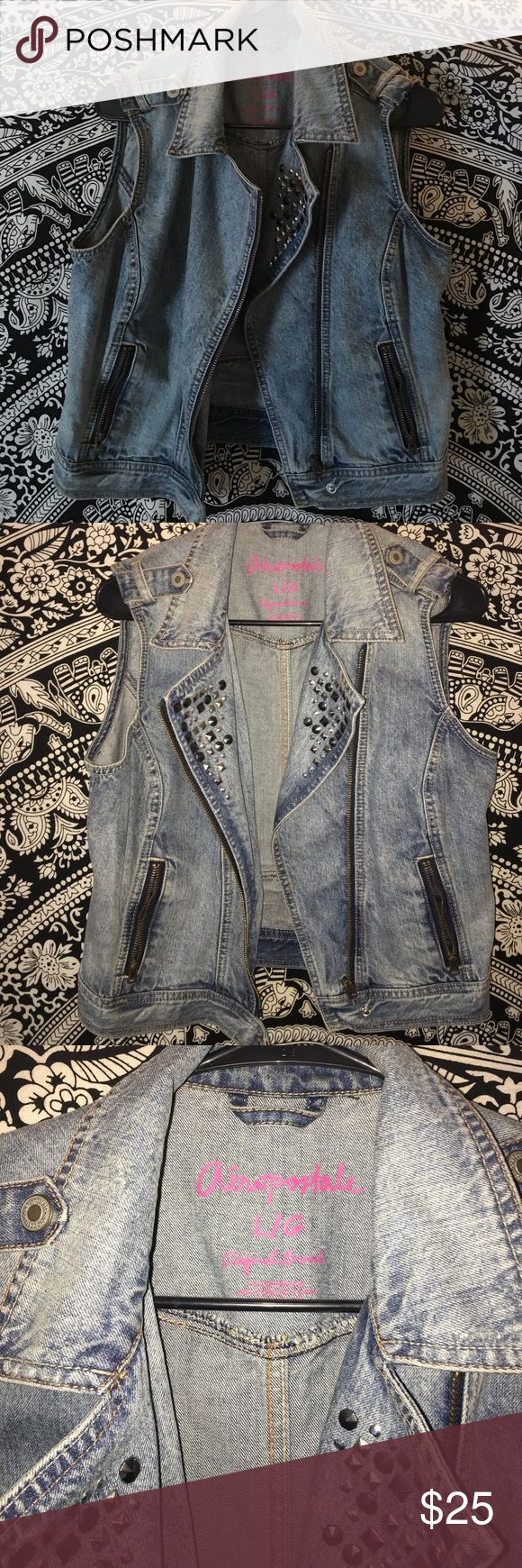 Studded Denim Vest Beautiful denim vest from Aeropostale with light and dark silver studs on the front. Zipper pockets. Aeropostale Jackets & Coats Jean Jackets