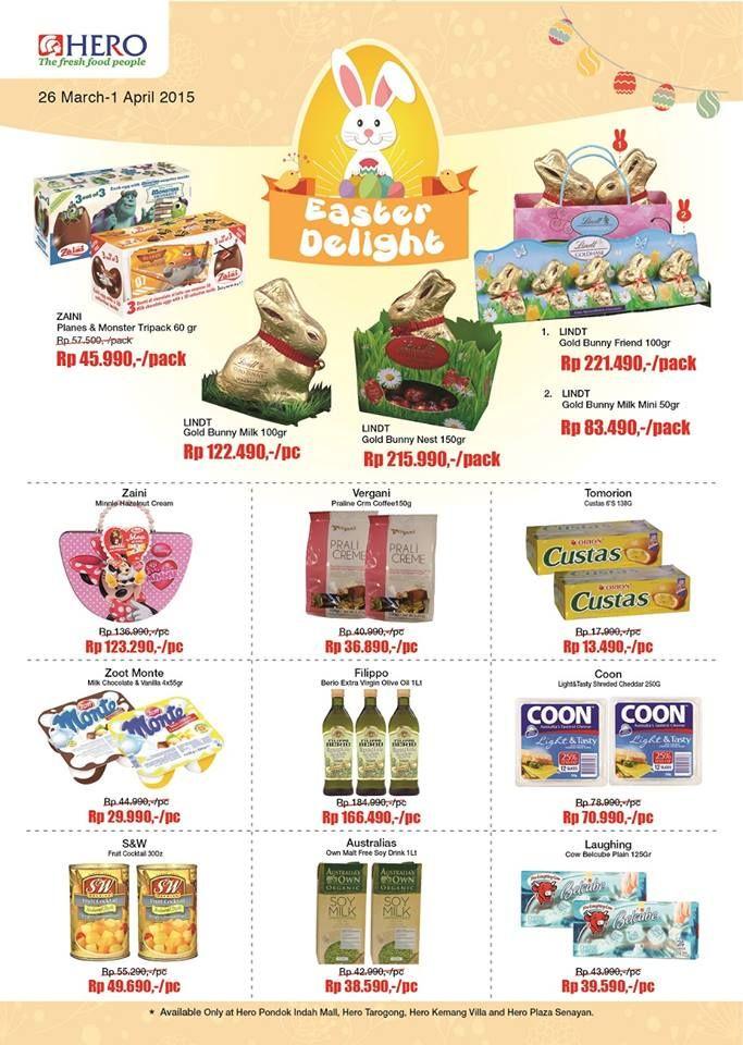 Menjelang paskah 3 Aptril nanti, ayo berbelanja dulu ke store Hero karena disini tersedia banyak Easter Delight dengan harga terjangkau  Dapatkan harga promo untuk Gold Bunny Milk di store Hero dan beragam kenutuhan untuk Easter lainnya. Yuk berbelanja #HeroEaster