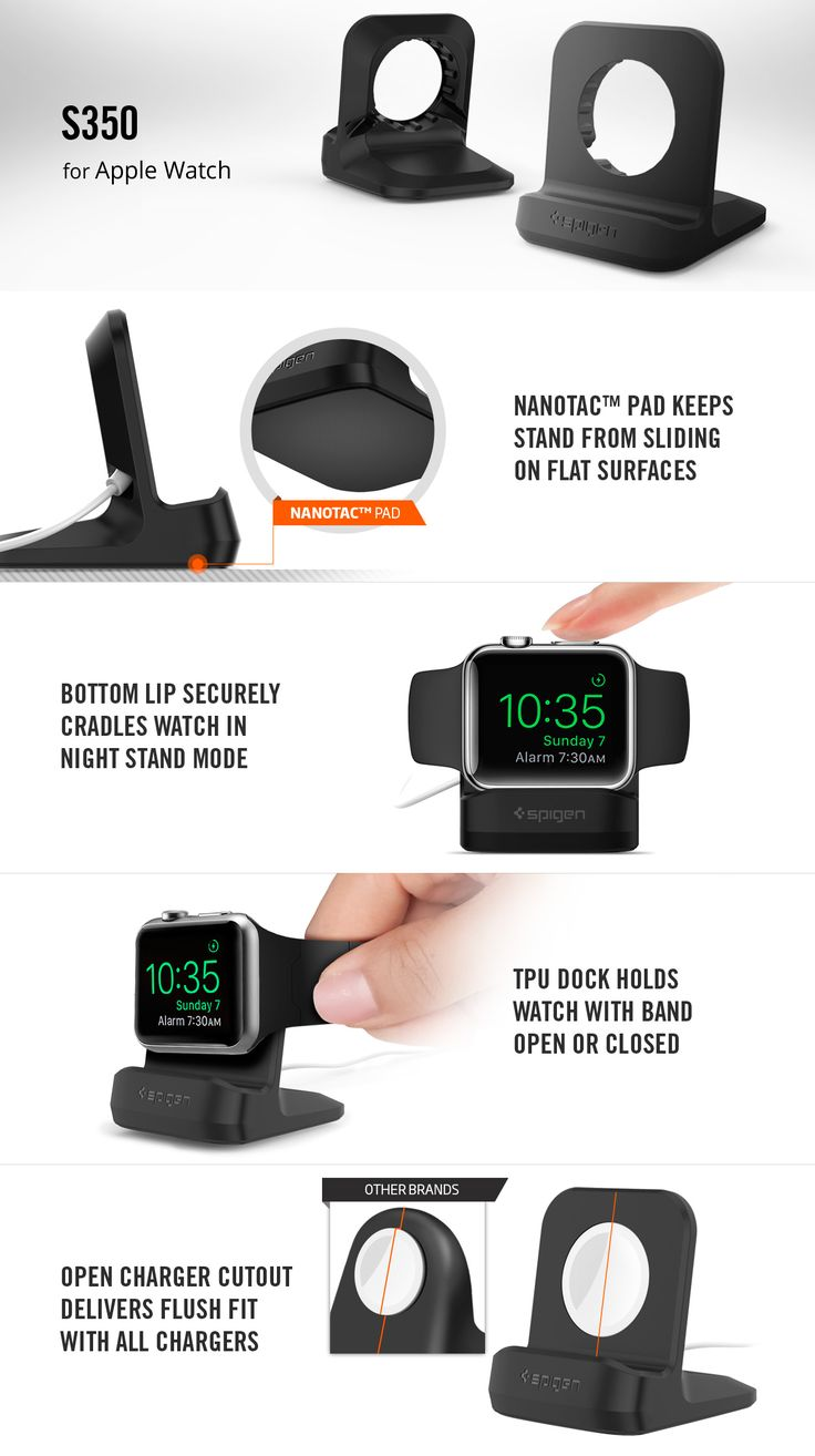 Don't have this one but looks good. Apple Watch Stand S350 – Spigen Inc.