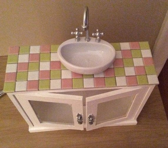 American Girl or 18 inch doll bathroom vanity on Etsy, $55.00